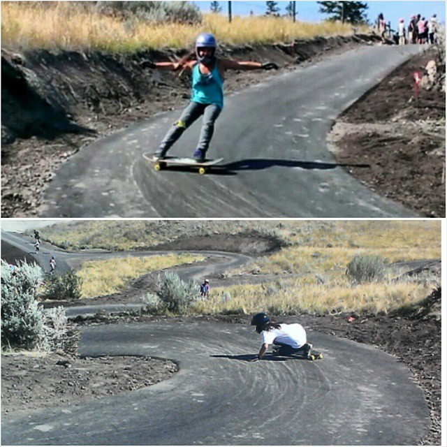 @skatebagels and @kateslynne shredding down the new longboard park in Kamloops, Canada. Will more parks like this be built around the world? #longboardpark #girlsthatshred #longboardgirlscrew