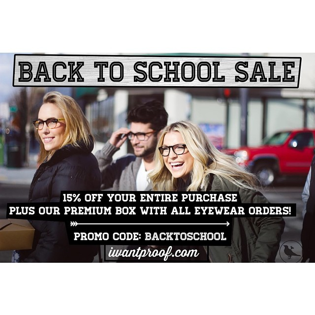 LAST CHANCE!! Don't forget about the Back to School SALE! 15% OFF your entire purchase plus our premium box comes standard with all eyewear orders (including sun, prescription & even sale eyewear)  Promo code: BACKTOSCHOOL