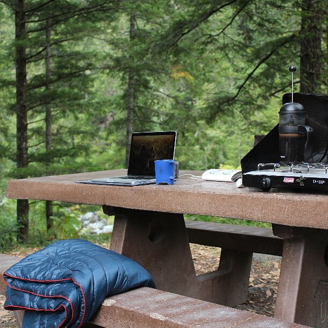 This Labor Day we are thinking about where we choose to work #WF? #mobileoffce #vanlife #morningcoffee #coffee #camping #mondays #LaborDay