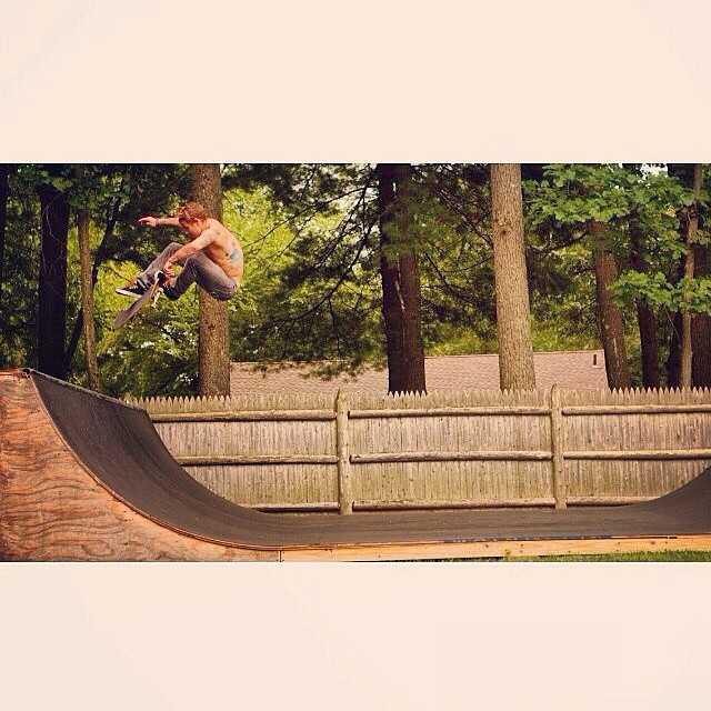 @Plan9heshin666 Labor Day tre flip on a tasty mini ramp. Photo by his manager/life coach @paulryanbohl #yougetyourjager