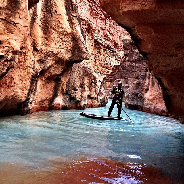 Swirling turquoise creeks with muddy desert rivers. Either on a sup or in a raft, Havasu is a must see in the Grand Canyon!