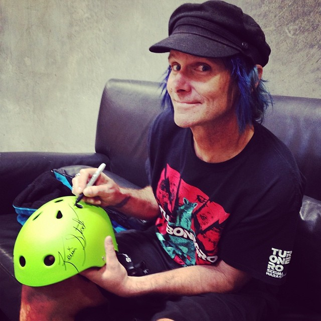 #kevinstaab signed an #s1 #lifer #helmet and we want to give it away to a lucky winner. To enter just #RegrAm the photo and hashtag #kevinstaab . #stoked #skatevert #winsomethingcool #rad #skate #skatehelmet #signedhelmet #skatelegend