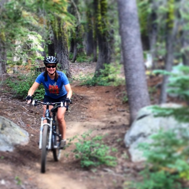 Thinking hard about getting in shape for the #ski season. Our routine includes super fun #mountainbiking in #Tahoe with the #sisterhoodofshred. What's yours?