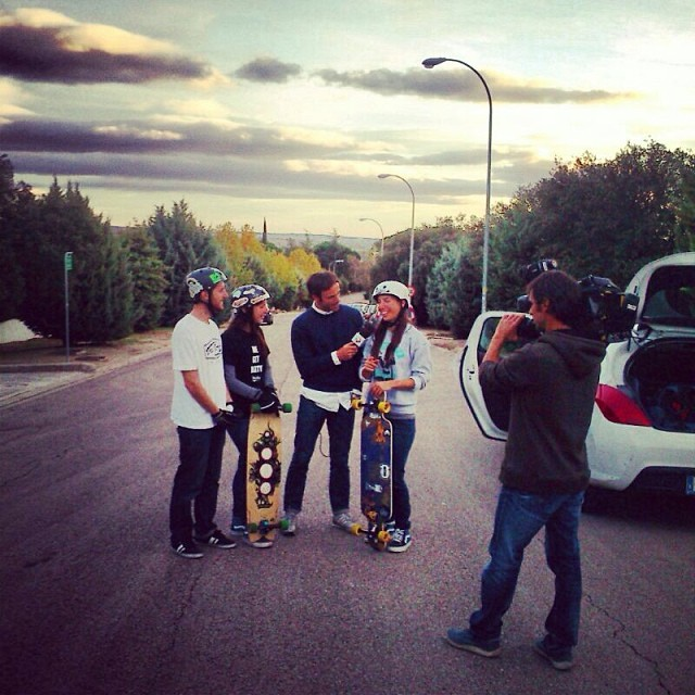 Yesterday @chus_asensio @jackymadenfrost & @valeriakechichian were interviewed by Spanish TV to talk about #LGCOpen. Full movie coming soon! #longboardgirlscrew Thanks for the pic Alon @dasilvaboards