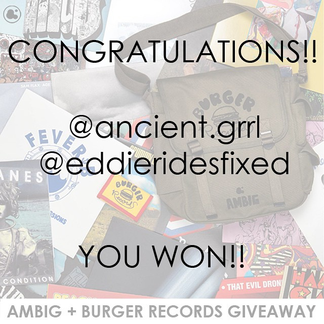 CONGRATS TO @ancient.grrl and @eddieridesfixed ! You two will be getting a bunch of clothing from ambig and a bunch of good tunes from @burgerrecords4life !! To everyone who didn't win... Sorry!! We could only pick two :( But don't worry cuz burger...