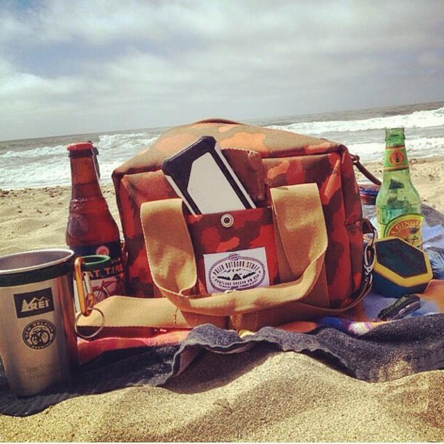 A few essentials from @ridesfo  #polerstuff #beach #camera #beer #fattire #music #boombotix