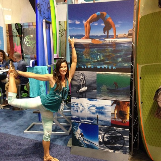 Regram from @waveofwellness live from Surf Expo!  Jessica is about to get on the water and show us some of her amazing sup yoga skills. Come check it out at the demo pool from 2:00-3:00PM Thursday and Friday @surfexpo #surfexpo #orlando #jessicacichra...