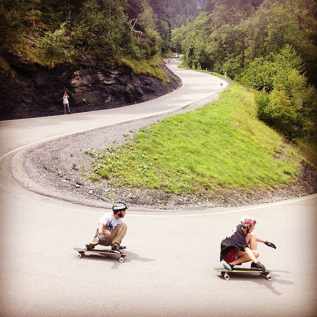 @tyler_howell_sb and @juergengritzner in Swiss bliss! PC: @max_ballesteros #opencontainertour #calibertrucks