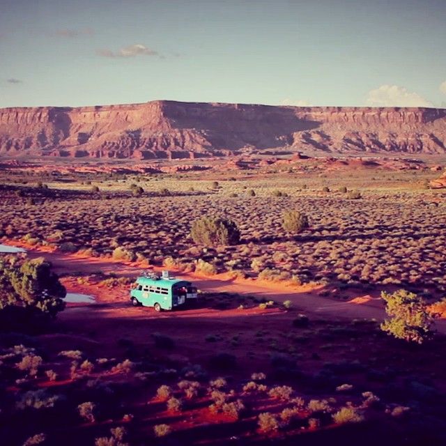 #ThrowbackThursday to our good friend and parks ambassador @maxeyfish traveling around the US in his veggie oil bus to get all the amazing shots you see in our Parks Anthem video. #tbt #indiancreek #utah #hamburgerrock #radparks