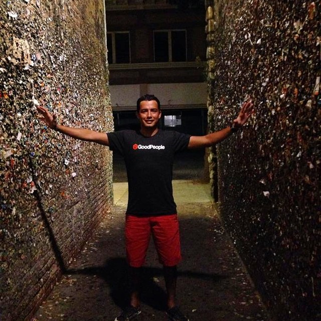 Sending out good vibes to #SUPsurfer @geosayulita who sent us this photo of him in his #GoodPeople tee from the San Luis Obispo Bubble Gum Alley - He's up in CA from Sayulita, Mexico for the World Tour #SUP #Surf Competition in Pismo Beach and the USA...
