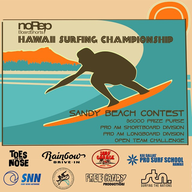 Who's ready for the third and final leg of the Hawaii Surfing Championship? Join us at Sandy Beach on September 13 and 14! Big mahalo to our sponsors @toesonthenoseclothing @surf_garage #rainbowdrivein @prosurfschoolhawaii @jmcsurfboards...