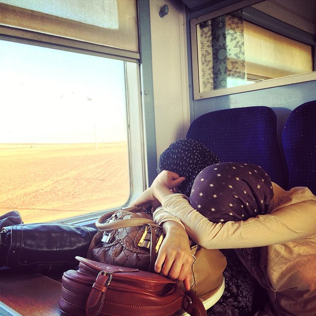 Dawn crackles upon desert as fellow lady commuters cross by train to Casablanca... while Hotel California plays on repeat from an undetected cellphone. @billabongwomens #wandermuch #surfingmorocco #beyondprojects #travelbytrain #northafrica #beyond...