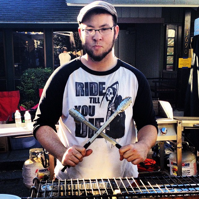 The creator of our #ridetillyoudie T rocking one of the 3/4s while cooking some mean tri tip! Follow @day_dream_tripper ! #bmx #california #fdvclothing #riderowned