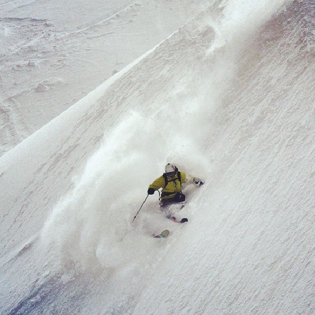 @dougtheskier making his mark with a big left thrash. #embracethestorm