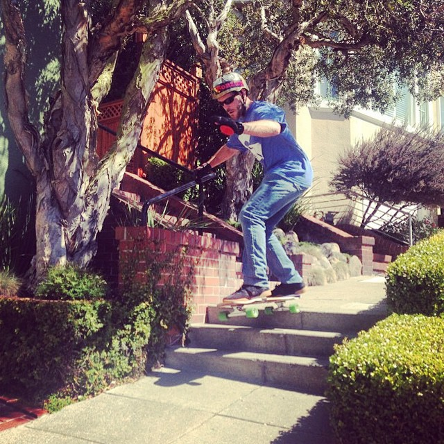 Gggghggrrrrrrrr!! Both a hoot and a holler!  Founder and owner Austin Graziano--@austin_bonzing floats a 3 stair in San Francisco!
