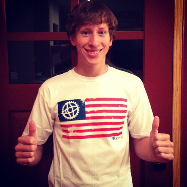 Super stoked that #youtube bmx star and shredder @twisterx15 is repping our #Merica shirt! Go give this guy a follow, he's always up to something fun! #bmx #usa #riderowned #fdvclothing