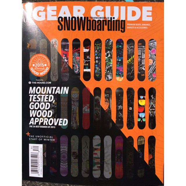 The latest @twsnow #gearguide2015 just dropped!  The #SmokinHooligan won #goodwood for best #park board and also landed a spot on the cover. We haven't had a board grace a Transworld cover yet so this is a huge day for all of us here at they factory!...