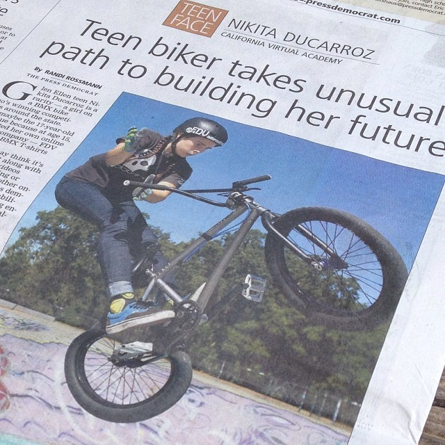 #fdvclothing owner @nikitabmxgirl in the paper! Spreading the word about how amazing #bmx is. #love #bmxgirl #riderowned #california