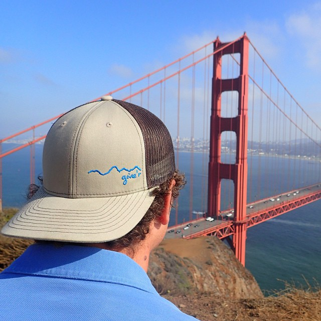 New trucker hats now available in khaki/brown! Ghetcha' some! #truckerhat #sanfrancisco #goldengatebridge #marinheadlands