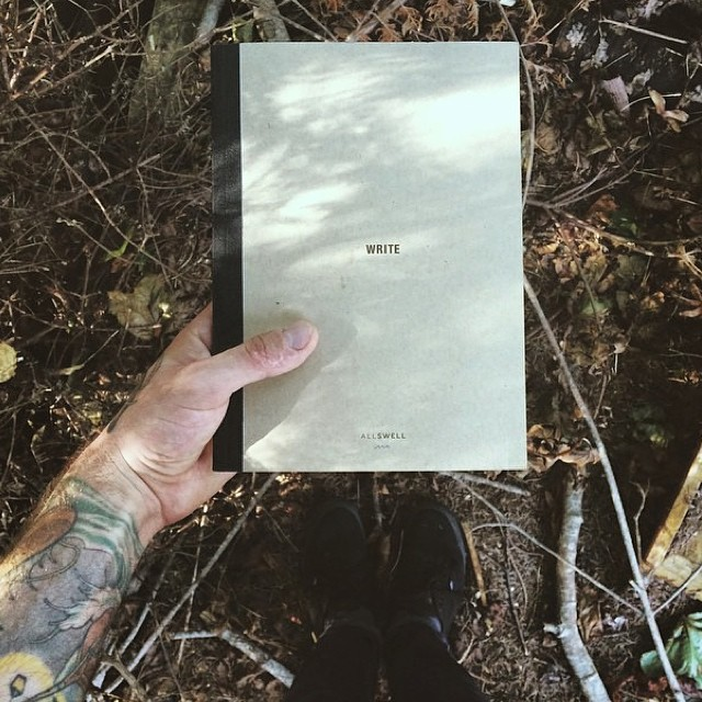 A notebook, the original mobile device. @johnlamos taking his AllSwell for a walk in the woods #creativityunplugged
