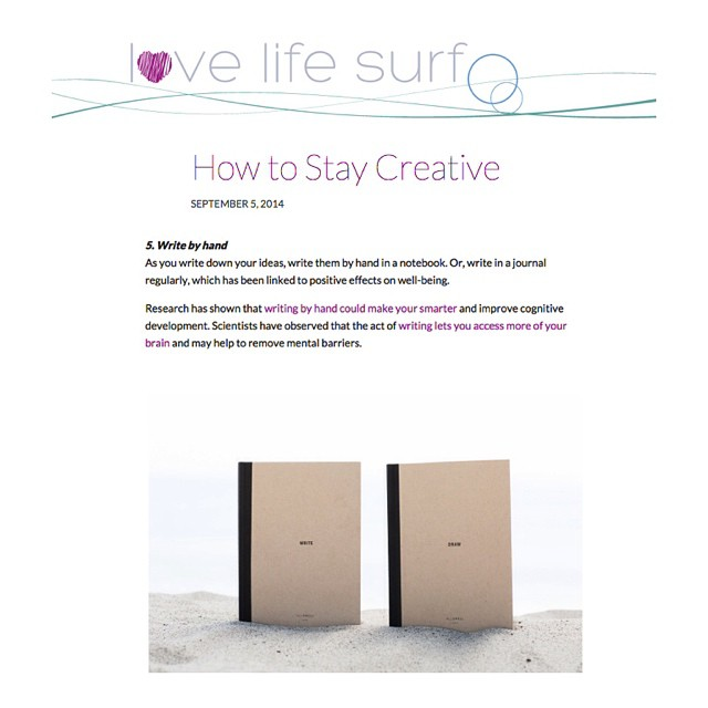 Wisdom from @cyu888 of #LoveLifeSurf on fostering creativity, including writing by hand in your AllSwell notebook. Thanks, lovely! bit.ly/1qtzTQ1