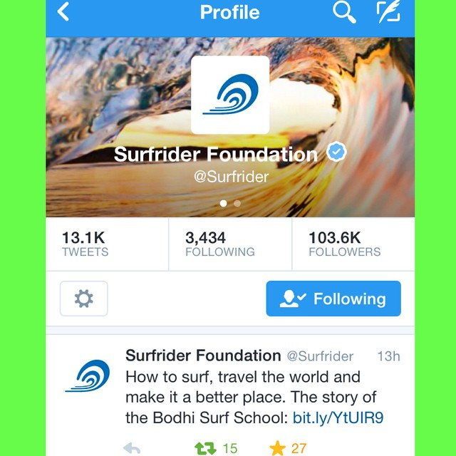 Just a casual, Tuesday evening mention of #BodhiSurfSchool by @surfrider on #Twitter. Nobody panic!