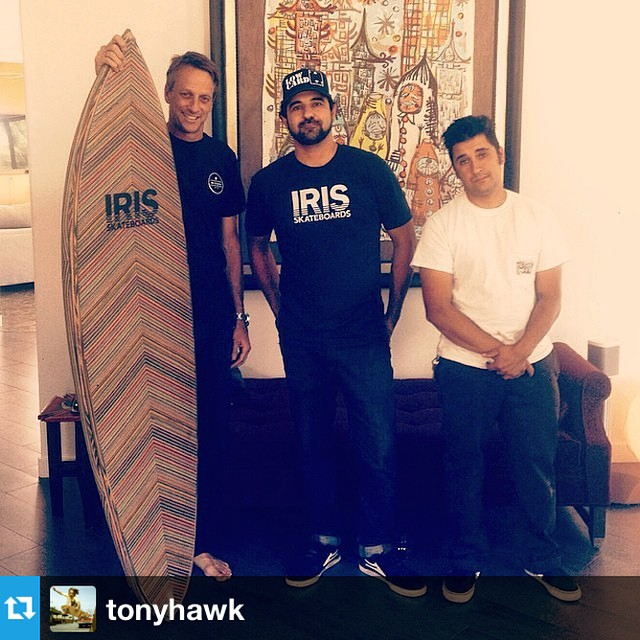 #Regram from @tonyhawk --> super stoked for our friends @iris_skateboards on the sale of their first @iris_surfboards to #TonyHawk! Tony just got a beautifully designed board made of recycled skateboards #gobigdogood #reducereuserecycle #sustainable...