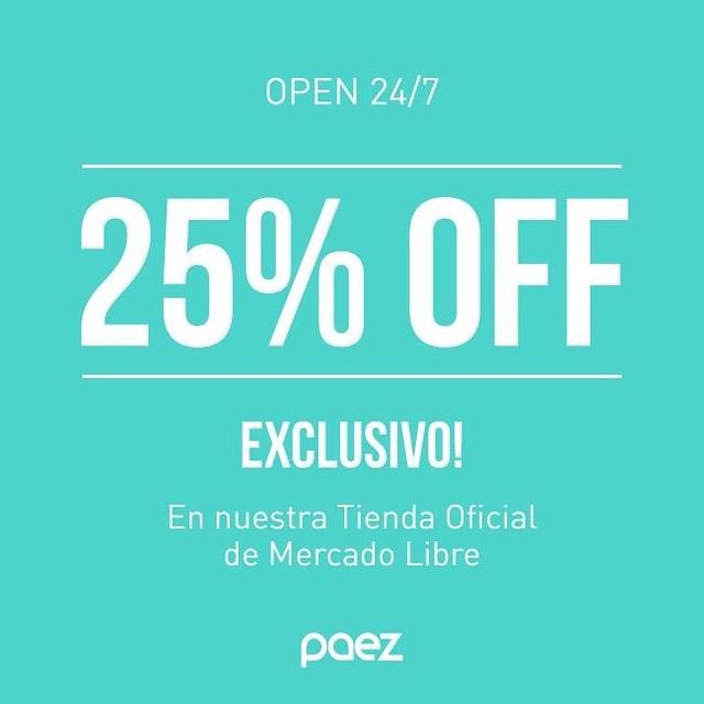 25% de descuento en productos seleccionados #felizcumplemercadolibre #onlyArgentina #paezshoes