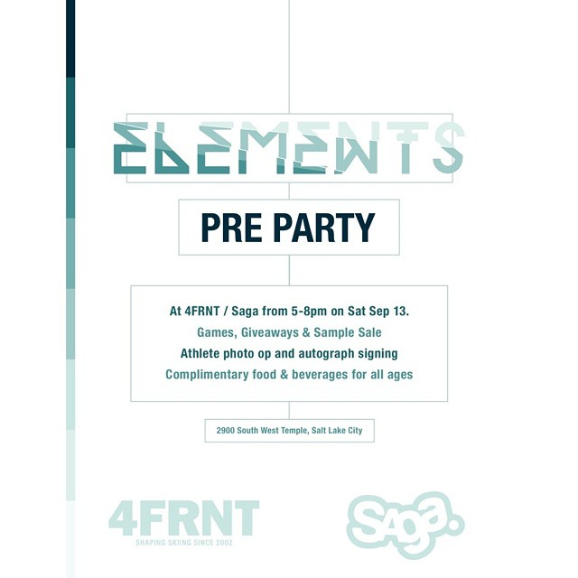 Join us and @sagaouterwear as we celebrate the World Premiere of #Elements on Saturday the 13th at our HQ in SLC. Come down, eat some food, pick up some gear, and hang out with the athletes! Don't forget to hashtag #MILLER #Realski @xgames to get Wiley...