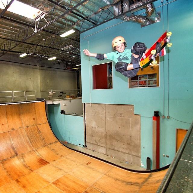 @rylanmancilla #stalefish at the #tonyhawkramp . Rylan wears the S1 mini Lifer Helmet . #grom #skateboarding