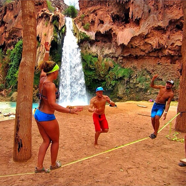 Slacklining in Havasupai - It's Friday, have fun this weekend! #friday #lifesabeach #slackline #kameleonz #wheresyourbeach pic by @ducpower89