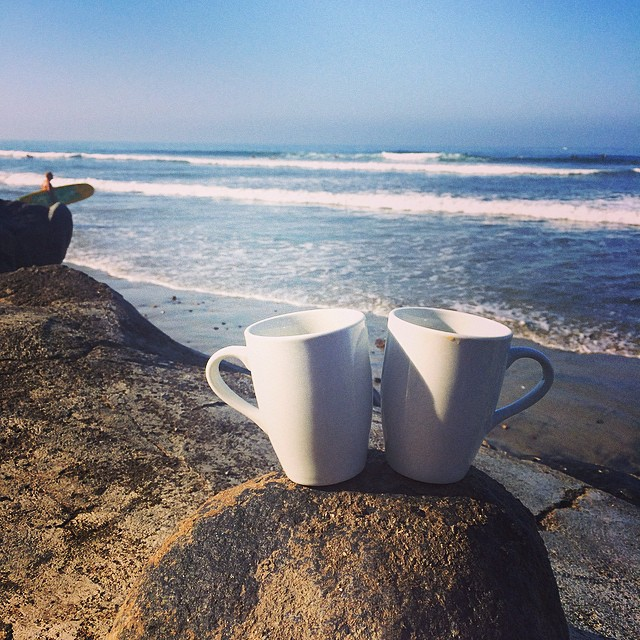 ~Cheers to the morning! ☕️☕️~ #HotlineWetsuits #Carlsbad #California