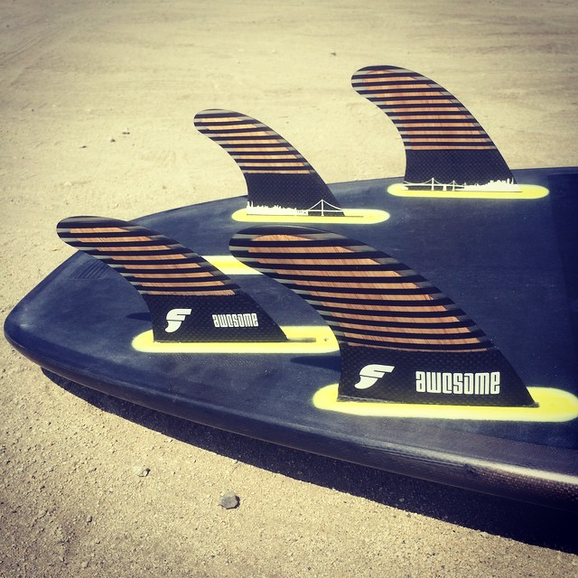 testing the quad setup #awesome #awesomesurfboards #awesomefins #hiddengraphics#madeincalifornia #futures