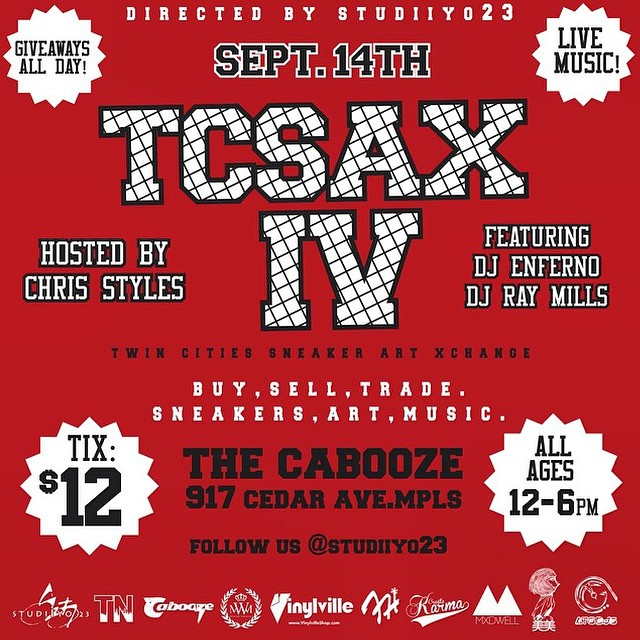 Check us out at the @studiiyo23 #TCSax event today at the  Cabooze. #sneakers #art #music #frostyheadwear #studiiyo23
