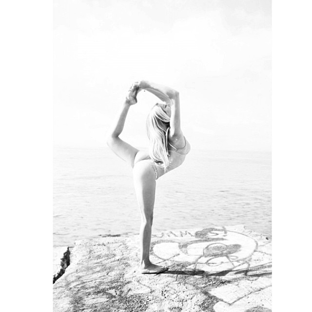#Find your own #balance in #life - @morganlexie in our #boho #connection #mini and #boho #surf #top - #lettheadventurebegin #bw #yoga #active #bikini #art