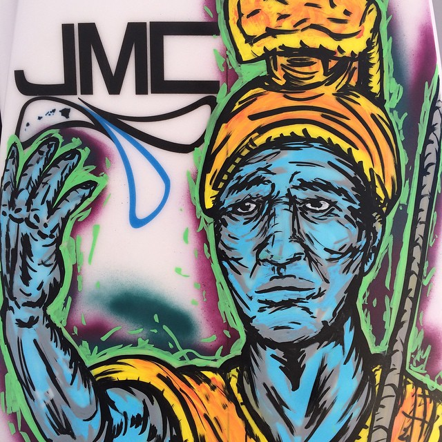 The first place overall winner of the men's shortboard will be going home today with @jmcsurfboards shortboard, featuring the amazing artwork of @dcasted #hawaiisurfingchampionship #hawaii
