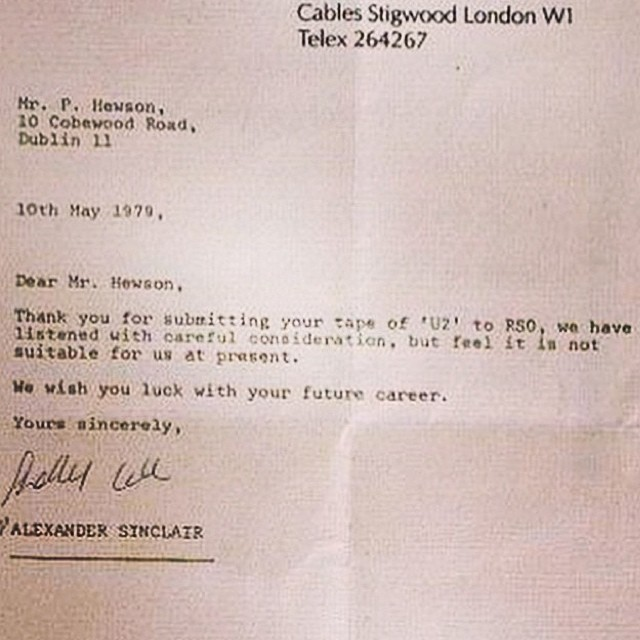 Rejection letter that Bono / U2 received early in their career. Not everyone will appreciate your output all the time, but don't let that inhibit your creative process. #dontquitbeforethemiracle