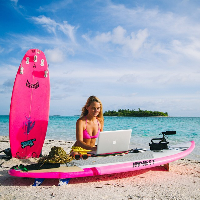 "Welcome to my office! I'm having a tropical love affair with ""My Passport"" hard drive by @westerndigital  all my photos and video fit in my pocket...now I just need a pocket in my bikini!;-) Photo by @hisarahlee"