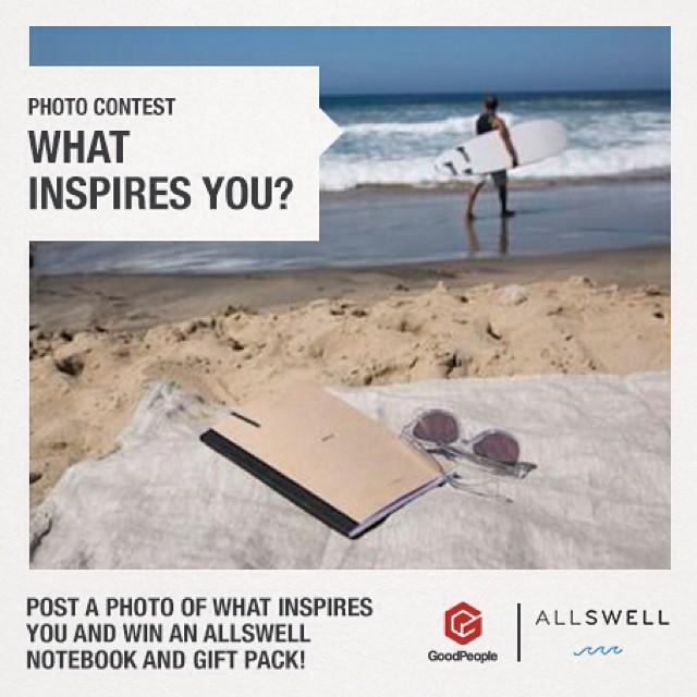To celebrate AllSwell's new store in the @goodpeoplelife marketplace, we're asking you to show us where you get inspired. Whether it's on the face of a wave, careening across the inside of an empty pool, or jotting down thoughts in a journal at the end...