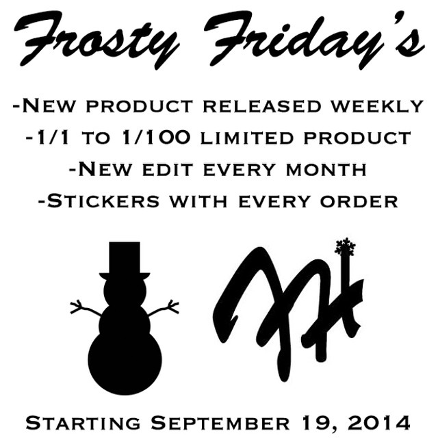 #FrostyFridays starting this Friday. Minimum of 2 products will be released weekly in limited quantities: 1 of 1 to 1 of 100 collections. New edits of team riders released monthly. Stickers included with every order! #frostyheadwear #limited