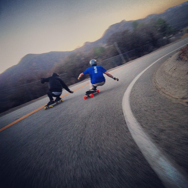 #ari chamasmany and #trevorbaird dancing around the last righty. #malibu #loadedboards #orangatangwheels