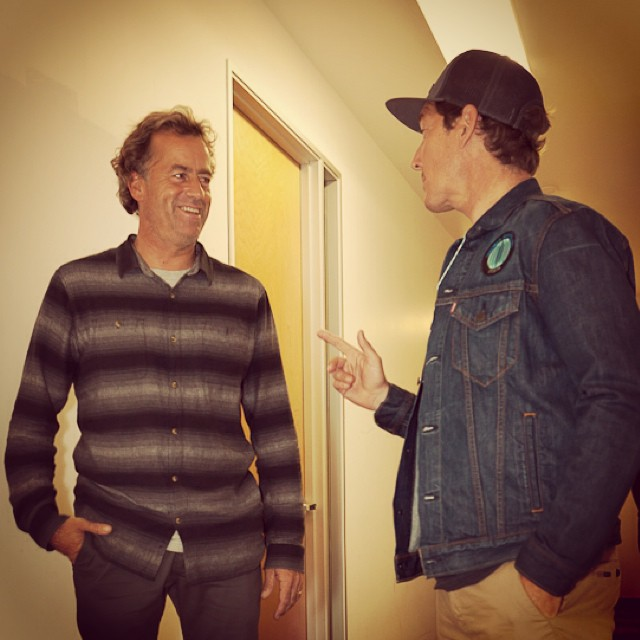 Talking with Tom Curren backstage of the recent High Line Festival of Surfing before his set !  Tom is stoked to get his first ECOBOARD, and Channel Islands is now hard at work getting it built before the fall lines start rolling into Rincon... Coolest...