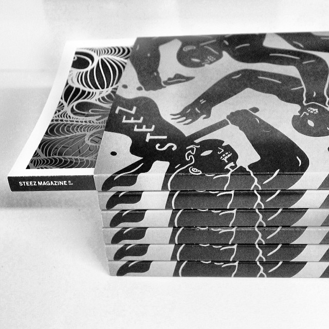Our latest #issue32 comes with a removable book jacket with custom artwork on both sides from @cleonpeterson and cover art by @insa_gram get em quick at steezmagazine.com
