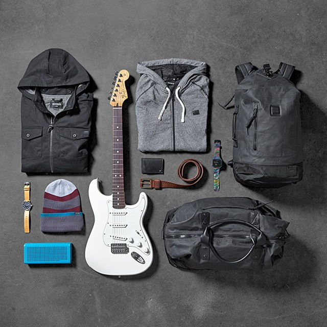 Feeling lucky? Win @connercoffin's Nixon team essentials & a @Fenderguitar Stratocaster!  Enter now using the link in bio: @nixon_now #thesentryleather #thesupertide #nixonblaster #nixonbags #nixon