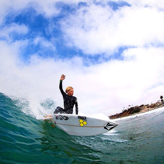Grom, @brockcrouch99, crushing it in SoCal | #LifesABeach #WheresYourBeach #Kameleonz #GoPro #GoProHaven #GoPole #GoProOfTheDay #SoCal #Sunglasses #Surfing #Grom #Waves pic by @mj_stamour