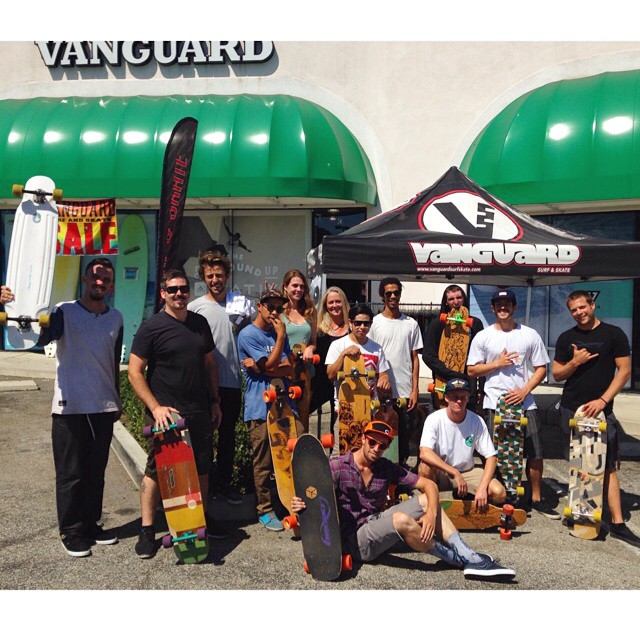 We visited the awesomely staffed @VanguardSurfSkate for a #LoadedBoards and #Orangatang clinic today! They've got a bunch of rad skaters working their that can help you with any of your skate needs!