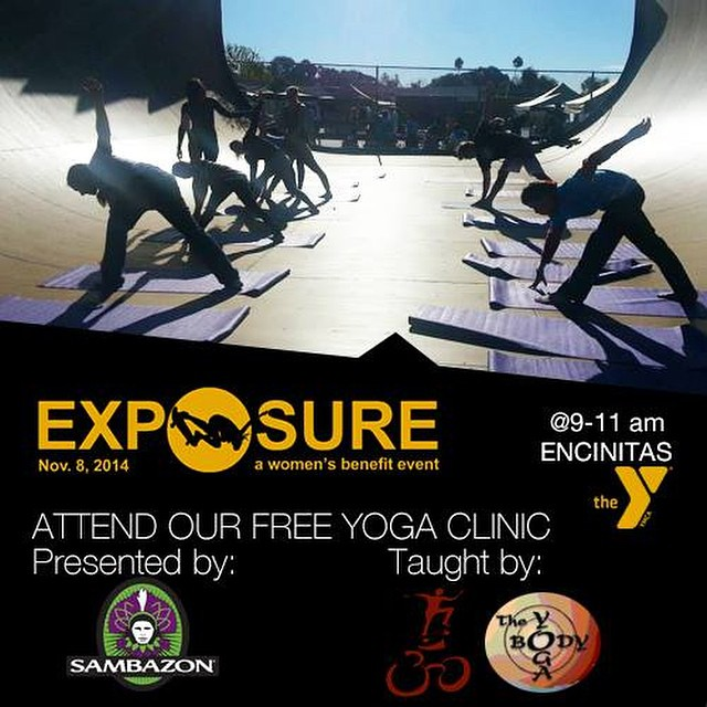 Have you ever tried #yoga before a #skate session? Now you can!  Come to #EXPOSURE2014 on Nov. 8 at the #EncinitasYMCA for a FREE all ages/abilities yoga clinic presented by @sambazon!