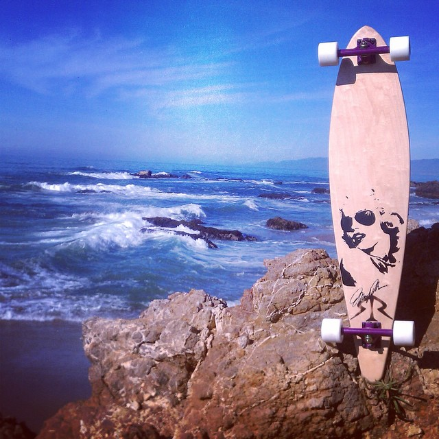 #TBT photo shoot in half moon bay #roadrashboards #longboard #pintail #marilynmonroe #calibertrucks