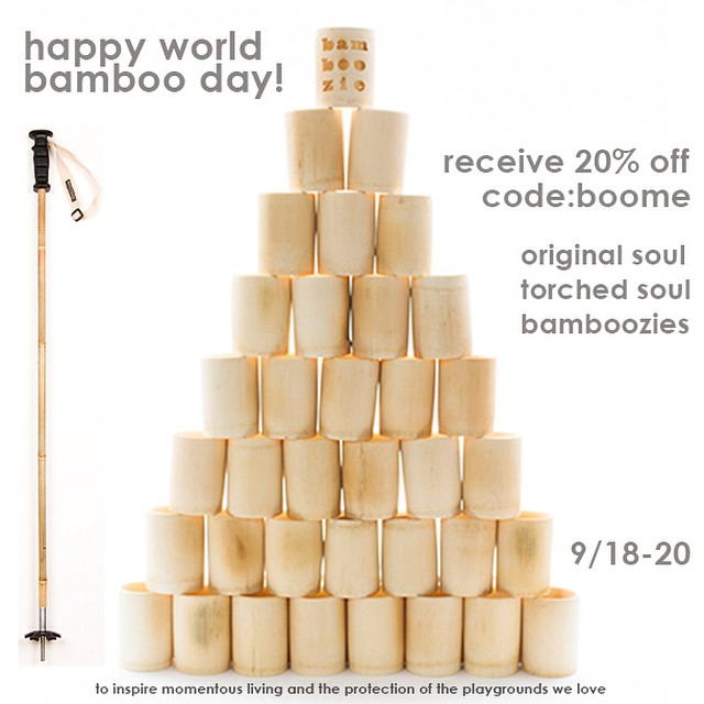 Happy #WorldBambooDay!  It's about time we gave proper homage to this incredible woody grass.  Today through Saturday receive 20% off Bottle Bamboozies, Original and Torched Soul Poles // #plantyoursoul at www.soulpoles.com | code: boome