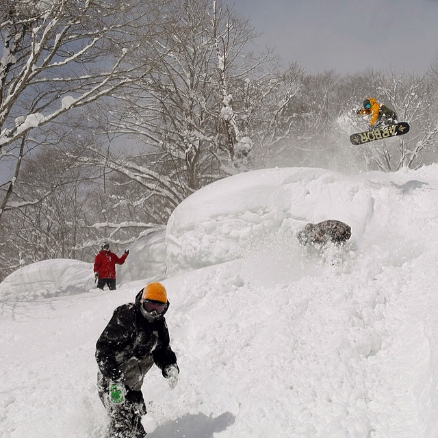 Some of the Flux team including  @yumaabe @yo_suki Takayuki Nakamura and @krocadil getting deep into the powder in Japan. Who's ready for some deep snow?